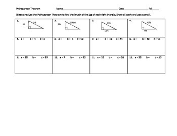 Pythagorean Theorem Leg PA CORE 8th grade