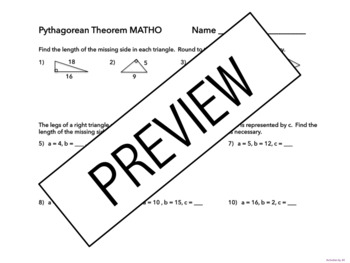 Pythagorean Theorem MATHO
