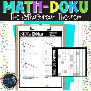 Pythagorean Theorem Math-Doku; Right Triangles, Geometry, Sudoku