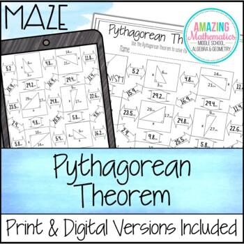 Pythagorean Theorem Maze by Amazing Mathematics | TpT