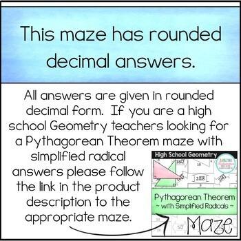 Pythagorean Theorem Maze Worksheet