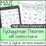 Pythagorean Theorem Worksheet - Simplified Radical Answers Maze Activity