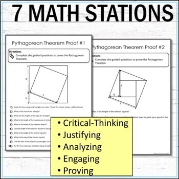 Pythagorean Theorem Math Stations :  Middle School Math Stations