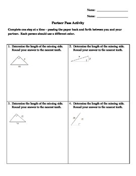 Pythagorean Theorem -- Missing Leg (Partner Pass Activity)