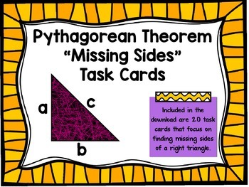 "Pythagorean Theorem ""Missing Sides"" Task Card Activity"