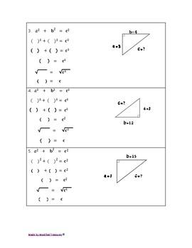 Pythagorean Theorem Modified Worksheet