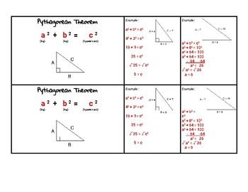 Pythagorean Theorem Notecard