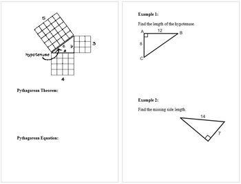 Pythagorean Theorem Notes Booklet