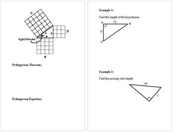 Pythagorean Theorem Notes Booklet