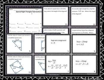 Right Triangles - Pythagorean Theorem, Converse Act. Riddle Task Card BUNDLE!!!