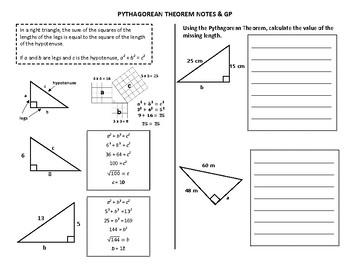 Pythagorean Theorem Notes & GP