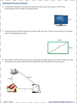 Pythagorean Theorem Notes and Practice: 8.G.7