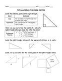 Pythagorean Theorem Notes with Word Problems