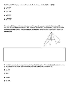 Pythagorean Theorem --PARCC review questions