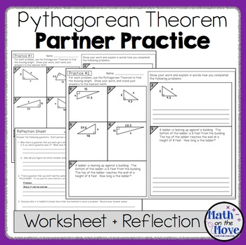 Pythagorean Theorem  Partner Practice And Reflection Worksheets