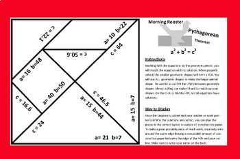 Pythagorean Theorem Pentagram Puzzle - Morning Rooster