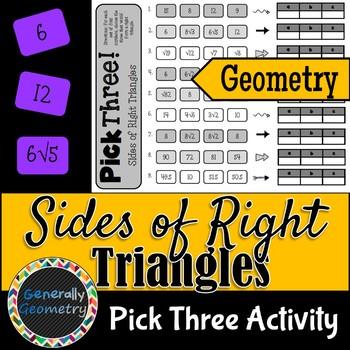 Pythagorean Theorem: Pick Three Activity; Geometry, Sides