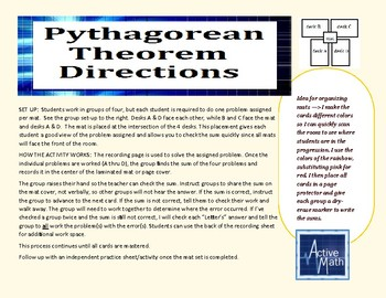 Pythagorean Theorem Placemat Activity