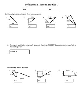 Pythagorean Theorem Practice 1