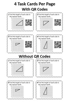 Pythagorean Theorem Practice: Task Cards w/ QR Codes and Worksheets