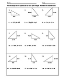Pythagorean Theorem Practice Worksheet or Warm-Ups