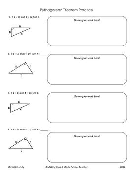 Pythagorean Theorem Practice with Answer Key
