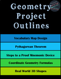 Geometry Project Outlines -- 5 Different Topics! Editable!