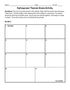 Pythagorean Theorem Puzzle Activity