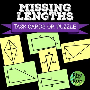 Pythagorean Theorem, Missing Lengths Task Cards or Puzzle