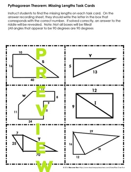 Pythagorean Theorem, Task Cards or Worksheet