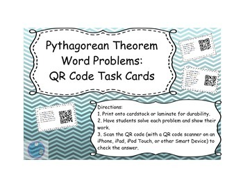 pythagorean theorem qr code word problems by technology timeout tpt. Black Bedroom Furniture Sets. Home Design Ideas