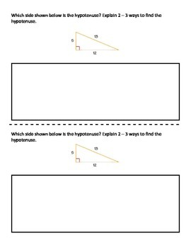 Pythagorean Theorem Quick Writes