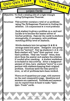 Pythagorean Theorem - Quiz- Quiz-Trade Activity for Algebra