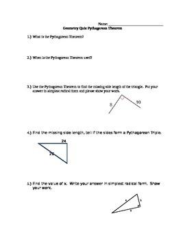 Pythagorean Theorem Quiz with Answer Key