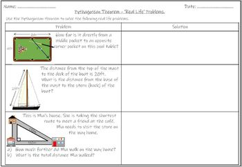 Pythagorean Theorem Real Life Worksheets Teaching Resources Tpt