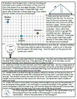 Pythagorean Theorem Real-World Multi-Step Word Problems w/MODIFICATIONS