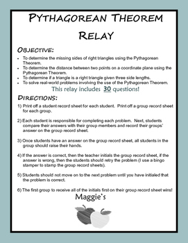 Pythagorean Theorem Relay (Game)