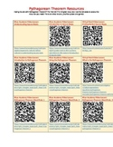 Pythagorean Theorem Resource Links and QR Codes for Teachers and Students