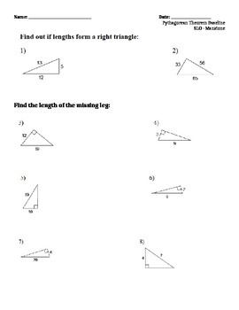 Pythagorean Theorem SLO Baseline Test