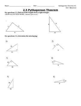 Pythagorean Theorem SLO Test #2