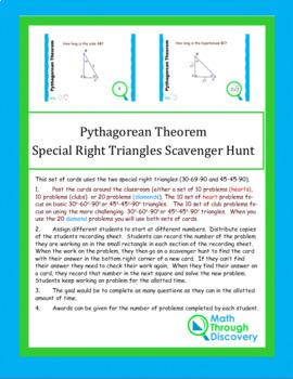Geometry:  Pythagorean Theorem Scavenger Hunt