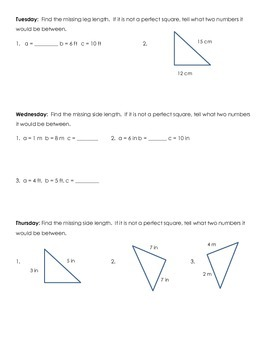 Pythagorean Theorem Skill of the Week (WK 12)