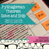 Pythagorean Theorem Solve and Snip- Aligned to Common Core and TEKS