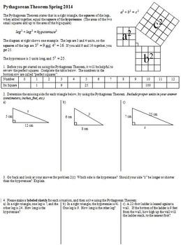 Pythagorean Theorem Spring 2014 (Editable)