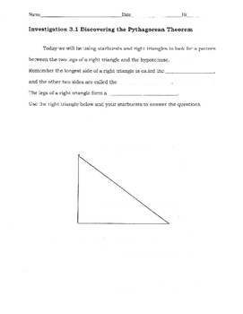 Pythagorean Theorem Starburst Discovery Activity