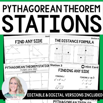 Pythagorean Theorem Math Stations: 8.G.7, 8.G.8