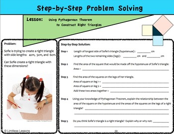 Pythagorean Theorem Step by Step Problem Solving Worksheet