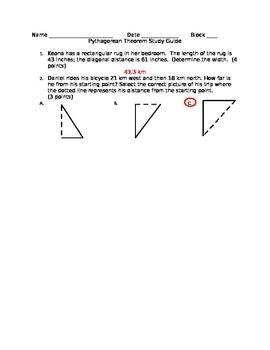 Pythagorean Theorem Study Guide