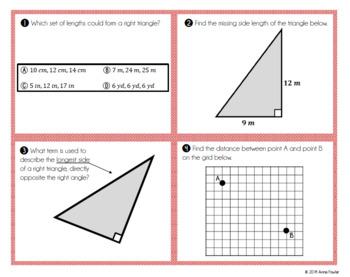 Pythagorean Theorem TASK CARDS (Printable & Version to Post Online)