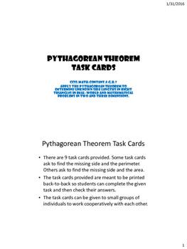 Pythagorean Theorem Task Cards 1/2 Sheets